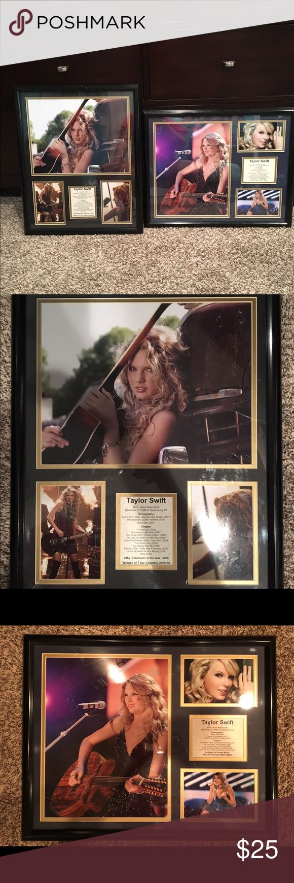 Taylor Swift Posters Two Taylor Swift posters 16x20. Pictures and discography, singles, awards, etc. Both come in frames and are in great condition Other