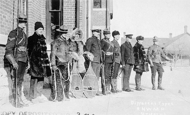 Unknown, 1920 Different types of Royal North-West Mounted Police uniforms. Source - LAC