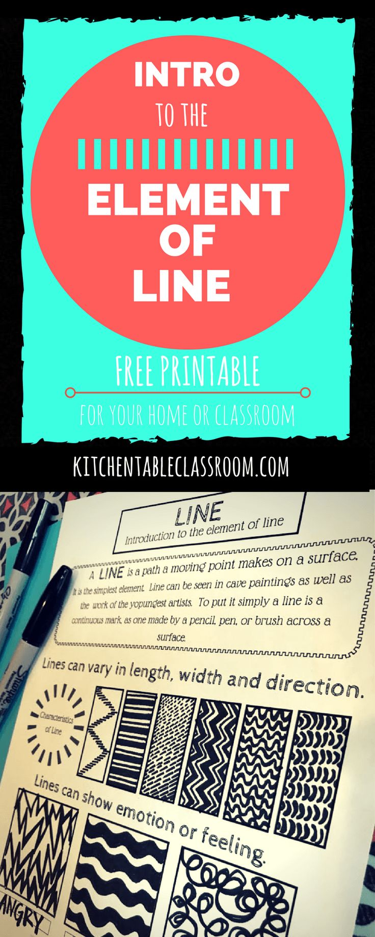 Lines are basic. Lines are easy. Even people that think that cannot draw are known to say they can only draw stick figures; which are of course lines! Line is an essential element of art and a great place to start with kids, no matter their age, because it is so unintimidating. Pointing out the …