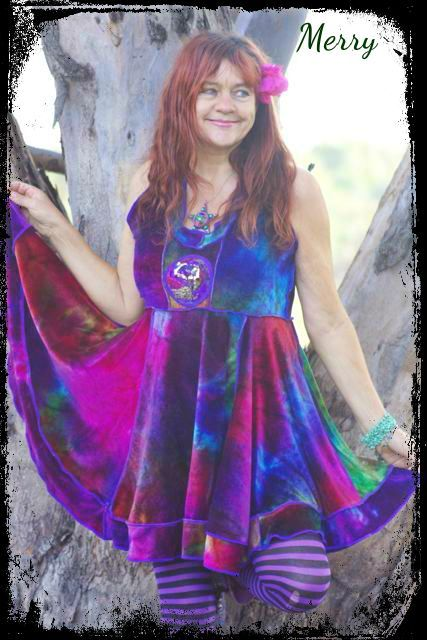 """Merry, created from hand dyed bamboo velvet. Measurements  Bust 38"""" -44"""" {97cms-112cms}  Length 35"""" {89cms}  Price $224"""