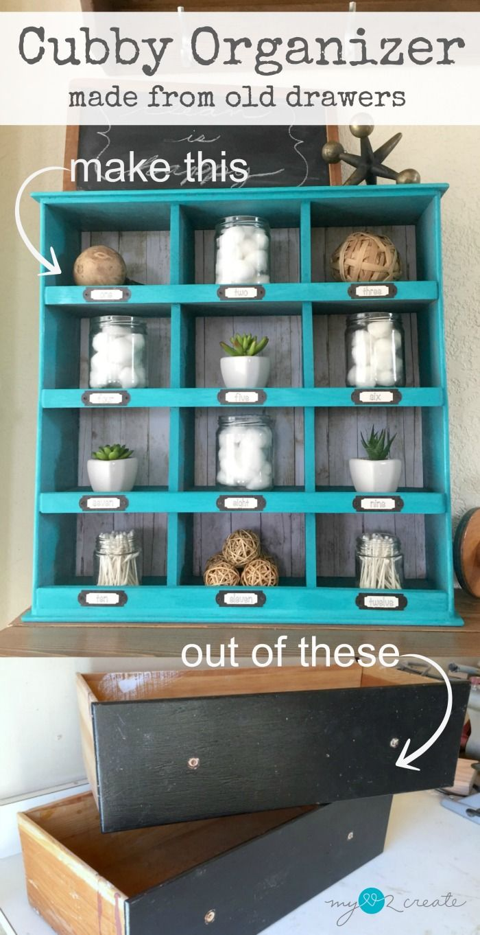 Make an old drawer cubby organizer with two old drawers and some scrap wood! It's easier than you think, with this step by step tutorial you can make one too