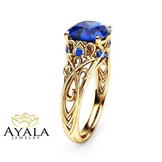 Cushion Cut Sapphire Engagement Ring 14K Yellow by AyalaDiamonds