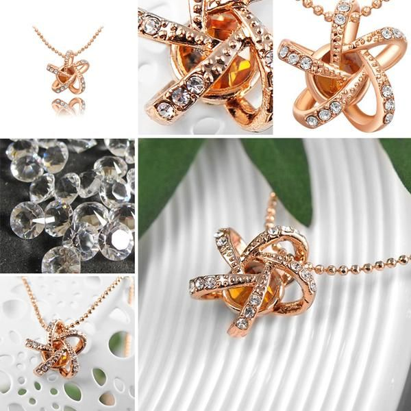Rose Gold Champagne Diamond Five Flower Necklace