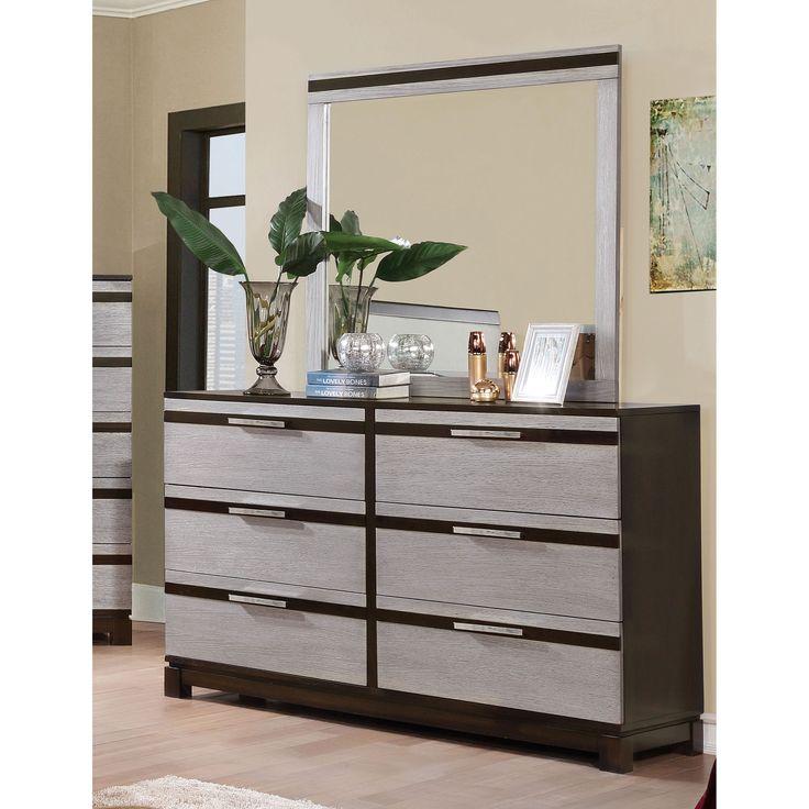 Furniture Of America Neolin Contemporary 2 Piece Two Tone Silver/Espresso  Dresser And