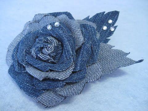 #DIY -#Flor de mezclilla en tela de jean reciclada  con cristalitos de strass - YouTube