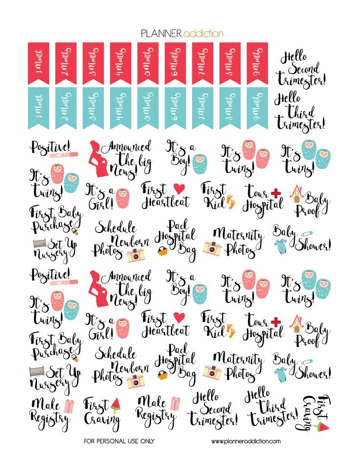 FREE Printable Planner Stickers - Pregnancy by Planner Addiction