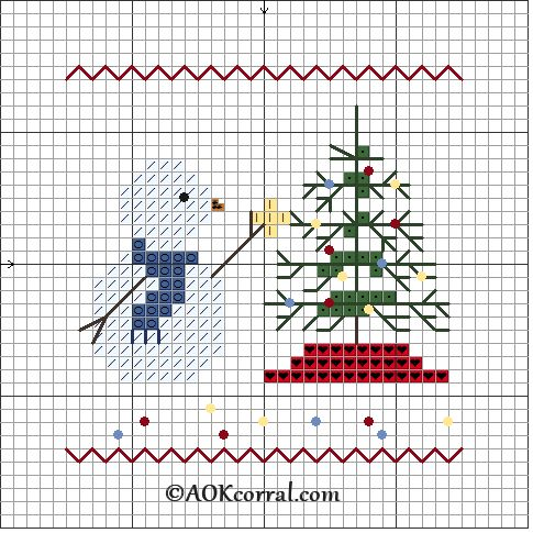 Cross Stitch Christmas Tree Snowman