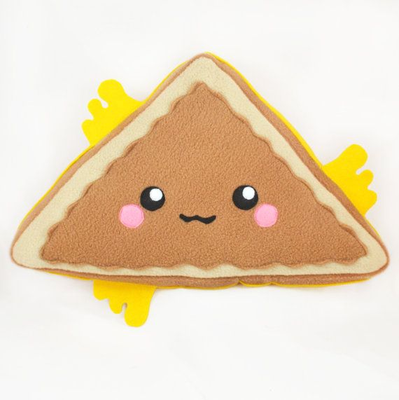 Grilled cheese sandwich triangle pillow / plush toy by Plusheez