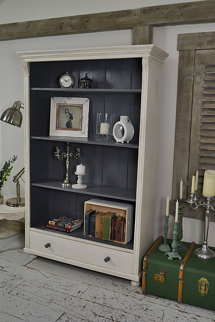 This rustic shabby chic antique pine bookcase from Holland, is perfect for storing all your wares and would look fantastic in an alcove or hallway! We've painted in Farrow & Ball All White with Valspar Carriage Wheel inside. http://www.thetreasuretrove.co.uk/cabinets-and-storage/rustic-white-and-grey-bookcase