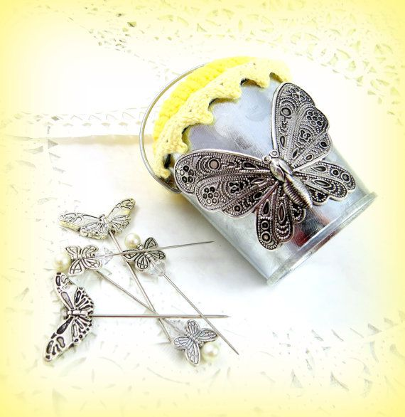 Pouco Balde de borboletas miniatura borboletas pincushion prata manteiga almofada de alfinetes amarelo alfinetes sala de costura artesanal tagt rdtt