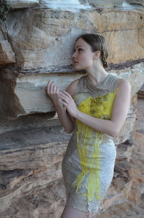 Eco fashion dresses  Nuno felted dress in nude and citrus yellow from natural silk and wool dyed with plants OOAK