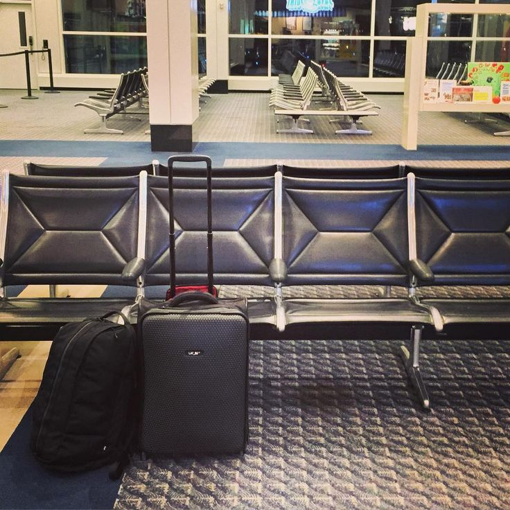 Rolland's new LAT_56 RW_01 Road Warrior suitcase in the airport lobby, in transit to Chicago!