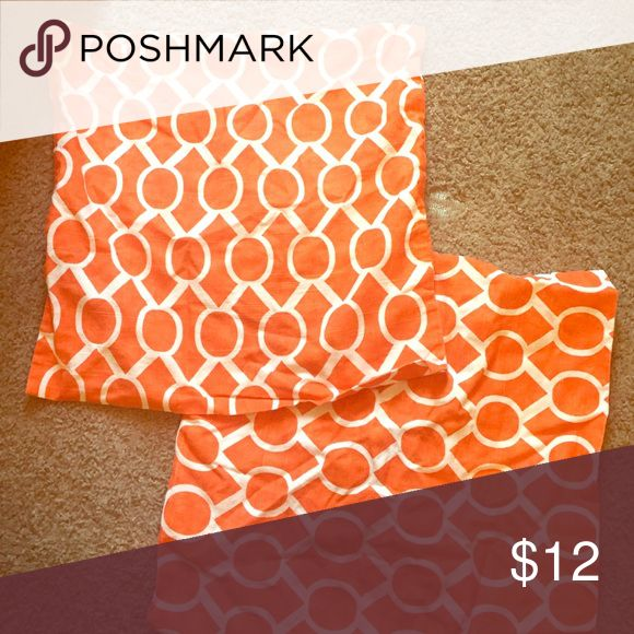 Two orange pattern pillow cases Orange pillow cases Other