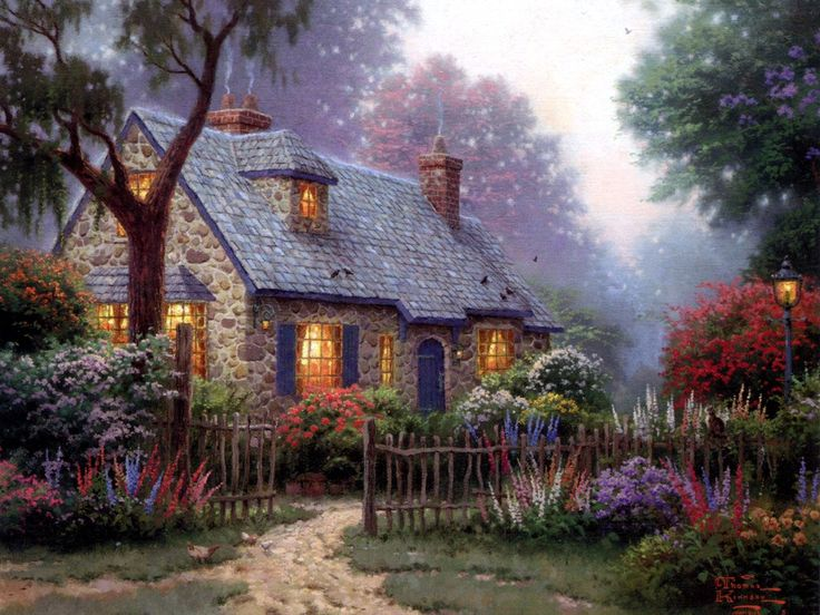 Thomas Kinkade Foxglove Cottage Art Painting For Sale Shop Your Favorite On Canvas Or Frame At Discount Price