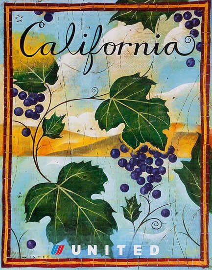 DP Vintage Posters - United Air Lines [[California]] Original Travel Poster Wine