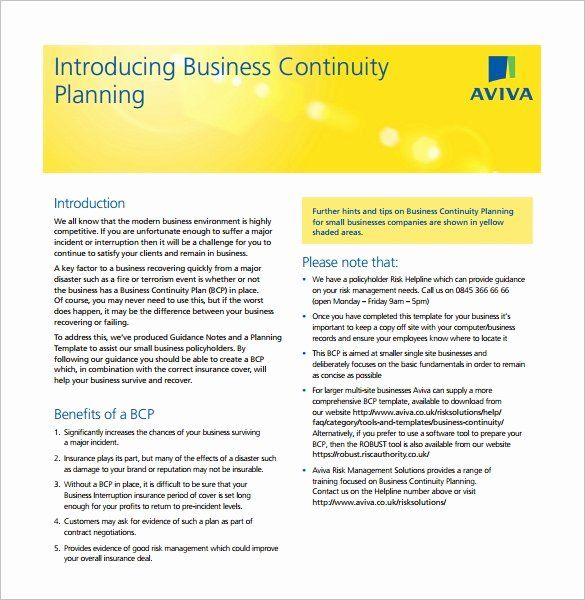 40 Business Continuity Plan Sample Business Continuity Planning