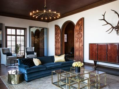 Living Room With a Velvet Sofa and Copper Tin Ceiling
