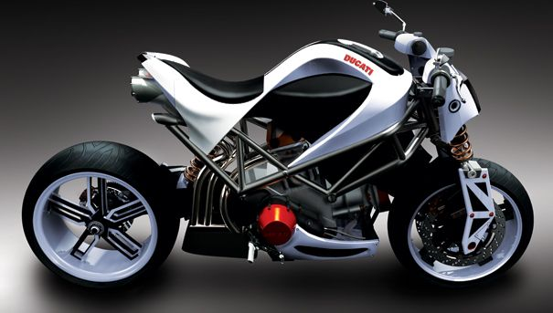 """The Ducati Spite a Nude Power Bike in Three Colors : This bike comes in red, white, or black, like any good motorcycle should. Its description is presented to us as a mostly poetic sort of situation, naming """"Style"""" as a main point, noting soft lines around a technological core, saying that this motorcycle concept, the Ducati Spite, has two souls. One of the souls is extreme simplicity, they say, and the other, a full detailed concept.  #Ducati #Spite #concept"""