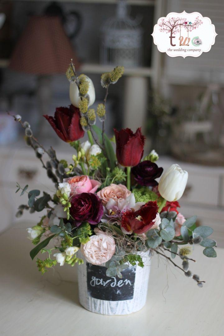 Marsala asymmetric flower arrangement
