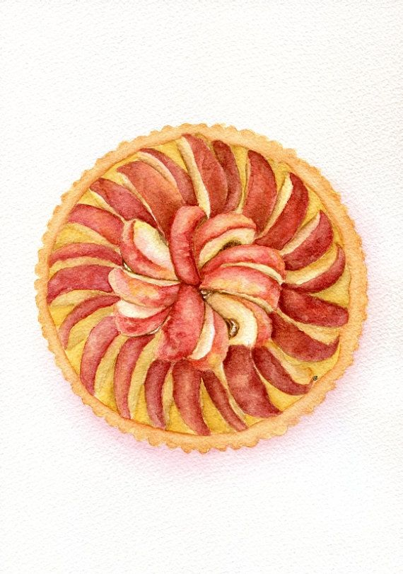 Apple Pie  - ORIGINAL Painting (Desset Illustration, Still Life, Watercolour Food Wall Art) A4 on Etsy, $75.29 CAD