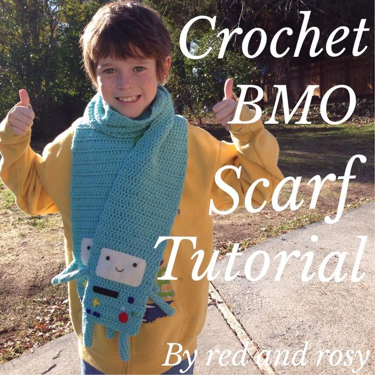 My son Jack with his crochet BMO scarf (from Adventure Time) made by Red & Rosy