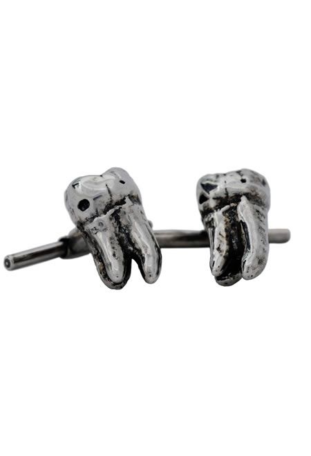 PRAGWERKS Oxidized solid sterling silver tooth cuff links  $100   #PRAGWERKS #SILVER #TOOTH #CUFF #LINKS