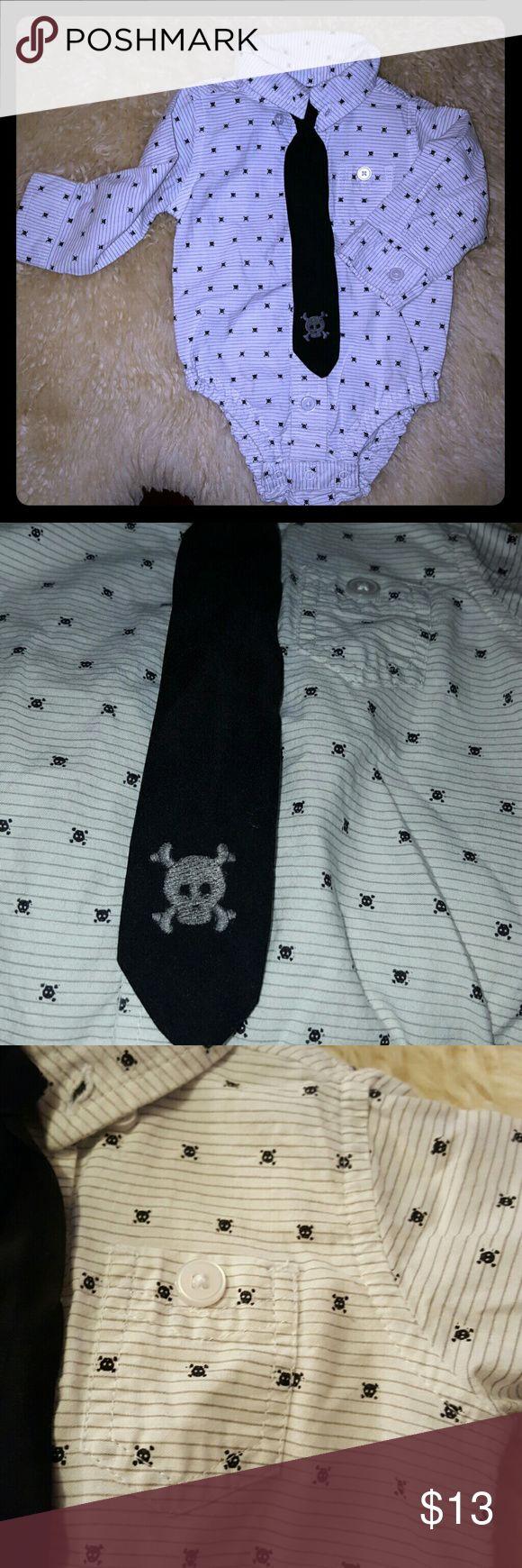 Koala Kik dress onesie. Baby boy skull dress onesie woth matching velcro tie! Koala Kids Shirts & Tops Button Down Shirts