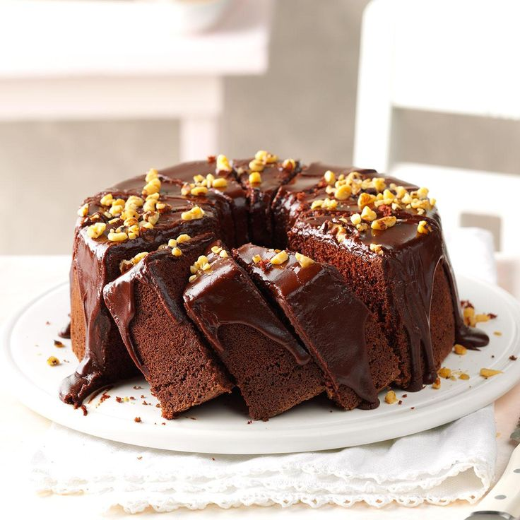 Chocolate Chiffon Cake Recipe -If you want to offer family and friends a dessert that really stands out from the rest, this is the cake to make. Beautiful high layers of rich sponge cake are drizzled with a succulent chocolate glaze. —Erma Fox, Memphis, Missouri