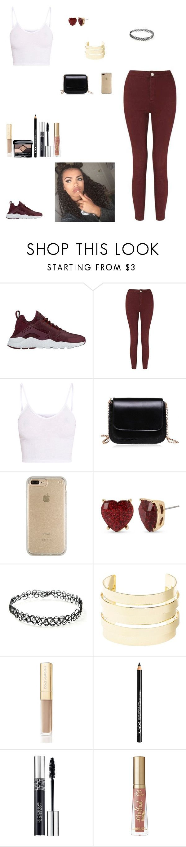 """""""burgundy and white"""" by kittykat125 ❤ liked on Polyvore featuring NIKE, Miss Selfridge, BasicGrey, Speck, Betsey Johnson, Forever 21, Charlotte Russe, Dolce&Gabbana, NYX and Christian Dior"""