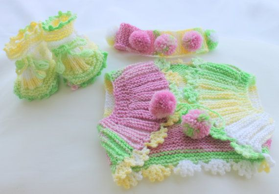 Hand Knitting Baby Set / 09 Months / Pink Yellow by BYBERRDESIGNS, $36.25