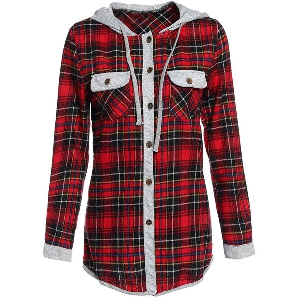 Casual Style Hooded Long Sleeve Plaid Shirt For Women ❤ liked on Polyvore featuring tops, shirt top, long sleeve tops, plaid shirts, hooded long sleeve shirt and hooded shirt