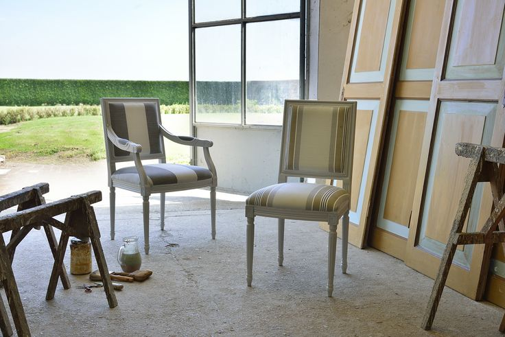 "Luigi XVI Quadra chair and armchair. Beautiful new shabby chic pieces from Venetasedie. Shooting in a beautiful artist's ""bottega"" to put a light on our manufactures."