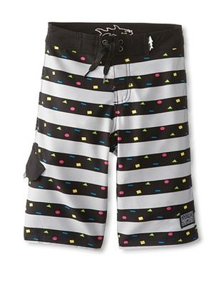 68% OFF Maui & Sons Boy's Cookie Stripe Board Shorts (Silver)