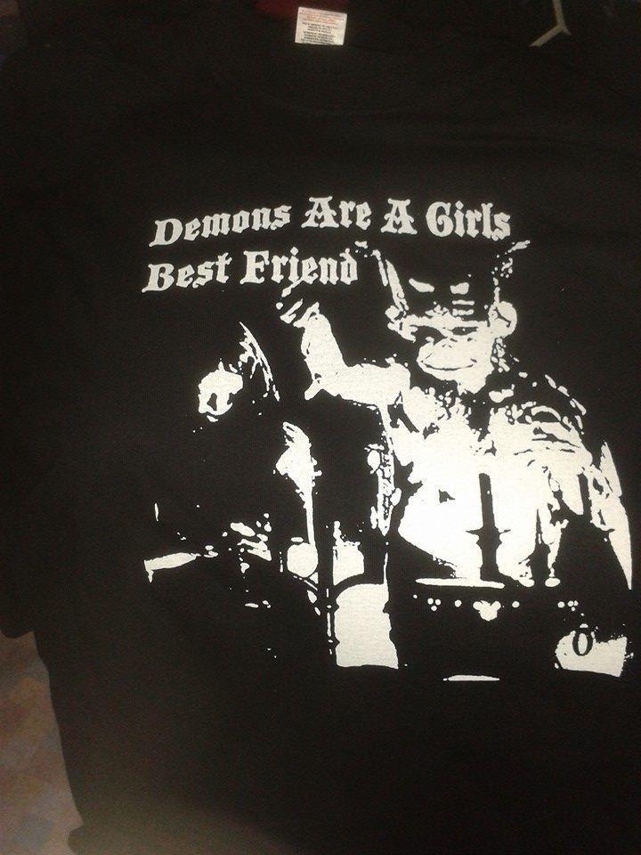 Black Gothic Short Sleeved T shirt Top Unisex Demons Are A Girls Best Friend