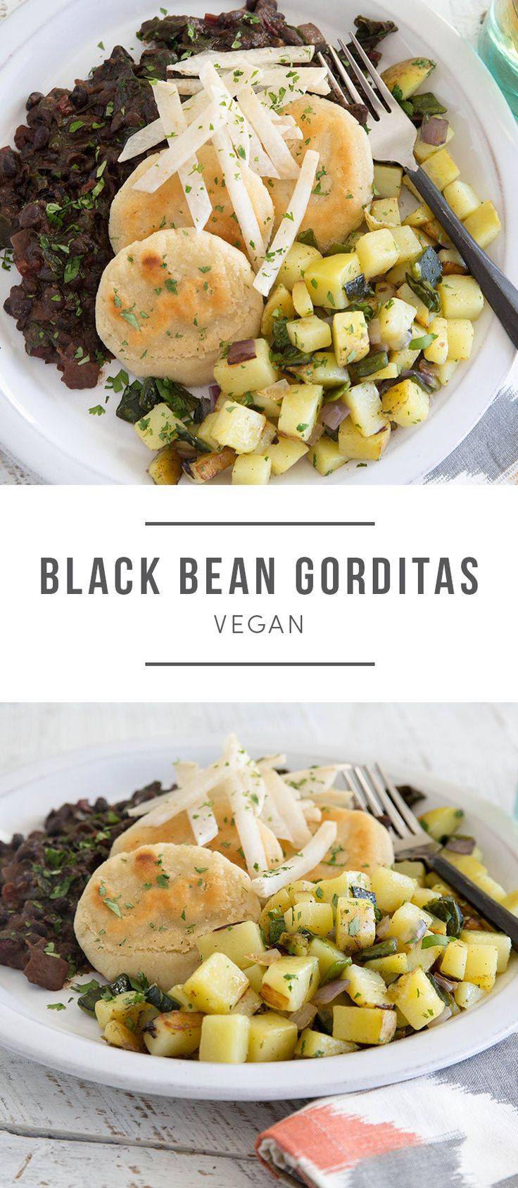 Vegan. Mexican flavors star in this hearty dish. Gorditas — thick masa cakes with savory toppings — are prepared here with roasted poblano chili mixed with sautéed potatoes. The veggies are served alongside lightly browned masa cakes. . Recipe here: https://greenchef.com/menus/main?utm_source=pinterest&utm_medium=link&utm_campaign=social&utm_content=blackbeangorditas