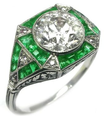 Diamond and Emerald Art Deco Ring. #Rings #Jewelry #Diamondrings | For more beautiful rings see:         	http://www.engagement-rings-specialists.com/Diamond-Engagement-Rings.html