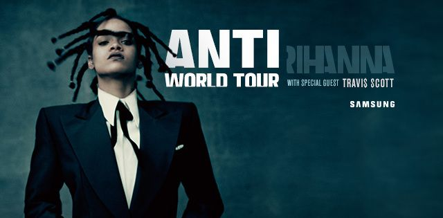 Rihanna's new tour schedule is set.  Check out the dates for the upcoming Anti Tour.  Book your Rihanna tickets today!