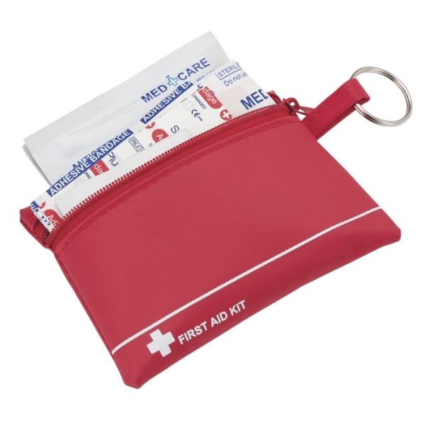 Mini First Aid Kit in Zip Pouch 4 Knuckle Bandages 4 Round Bandages 10 Large Bandages 5 Small Bandages 6 Alcohol Prep Pads 1 Cleansing Wipe 1 Soap Wipe 1 Antiseptic Wipe