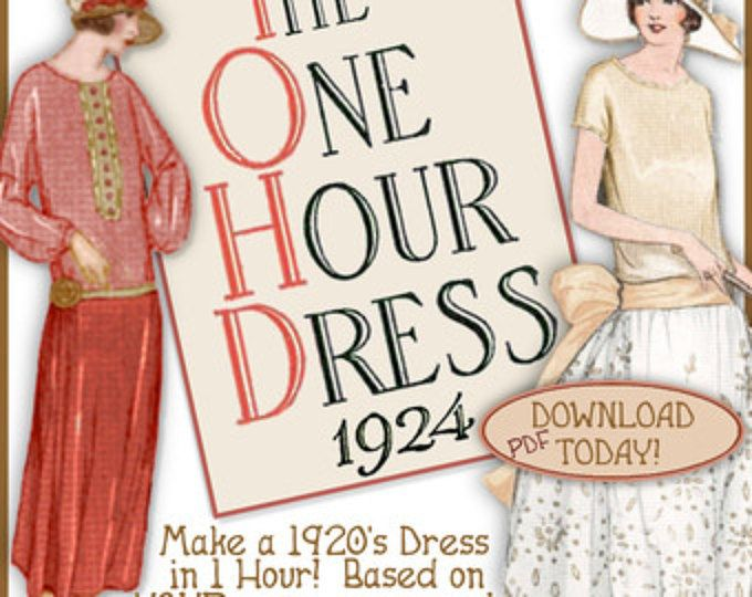 1920's 1 HOUR Dress -make Your own frock patterns like Downton Abbey- Vintage FLAPPER e-booklet pdf A