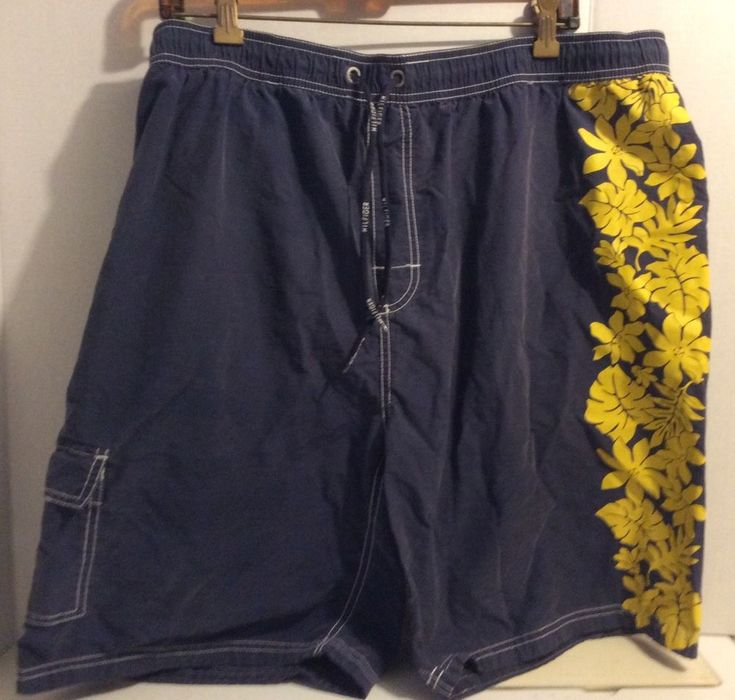 Vintage Tommy Hilfiger Mens Swim Trunks Blue With Yellow Hibiscus Side Size XXL #TommyHilfiger #Trunks