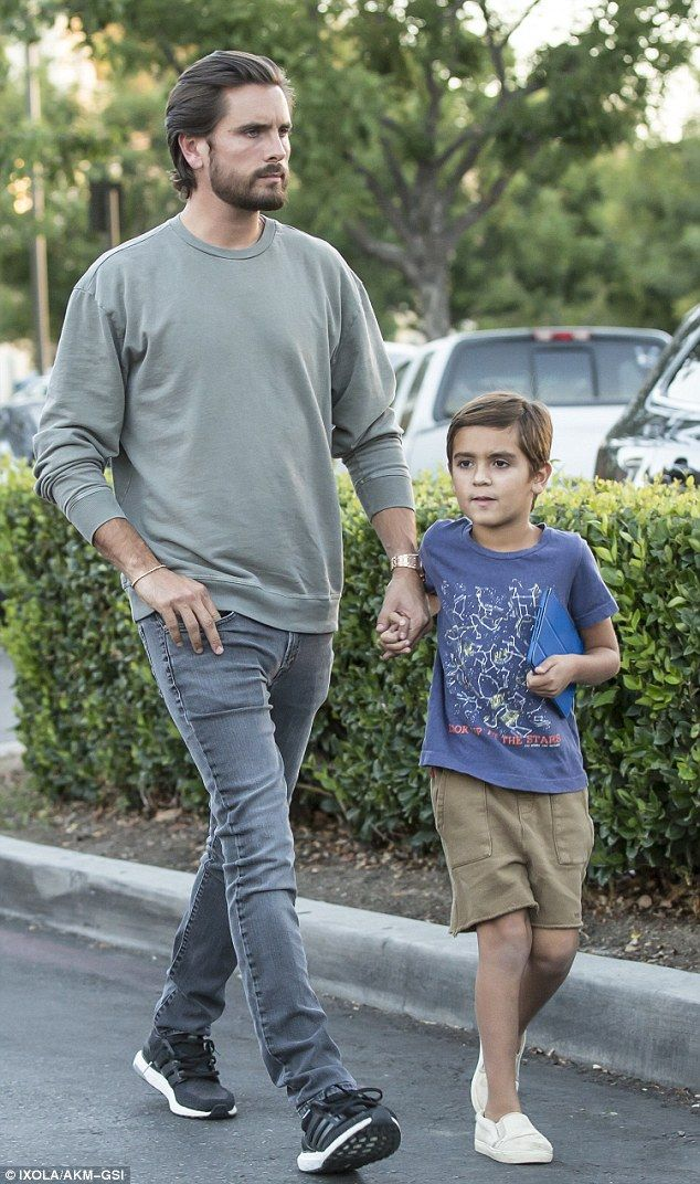 Just the two of us: Scott Disickwas pictured heading to lunch at King's Fish House in Calabasas with his six-year-old son Mason on Thursday
