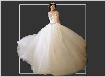 Schitterende PRINSESSEN trouwjurk met glinsterende tule rok! € 125,00