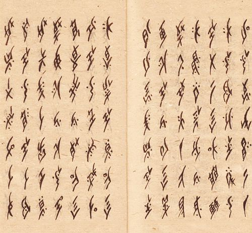 """Nüshu (literally """"women's writing"""" in Chinese) is a syllabic script created and used exclusively by women in the Jiangyong County in Hunan province of southern China. Up until the late Qing Dynasty (1644-1912) women were forbidden access to formal education, and so Nüshu was developed in secrecy as a means to communicate. Since its discovery in 1982, Nüshu remains to be the only gender-specific writing system in the world."""