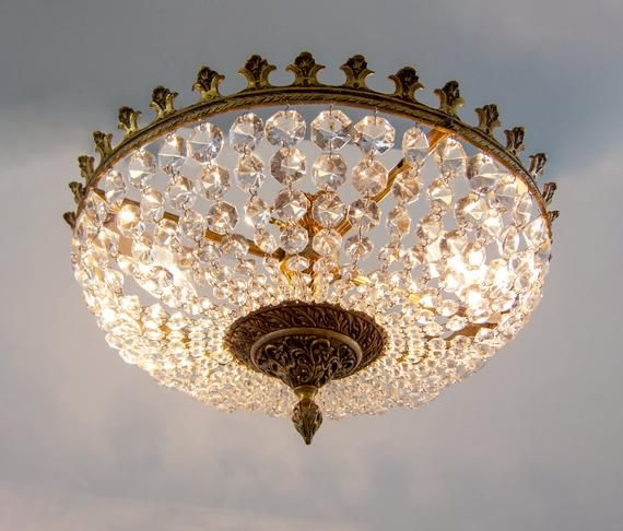 French Vintage 1950s Empire Chandelier, French Empire Crystal Semi Flush Chandelier