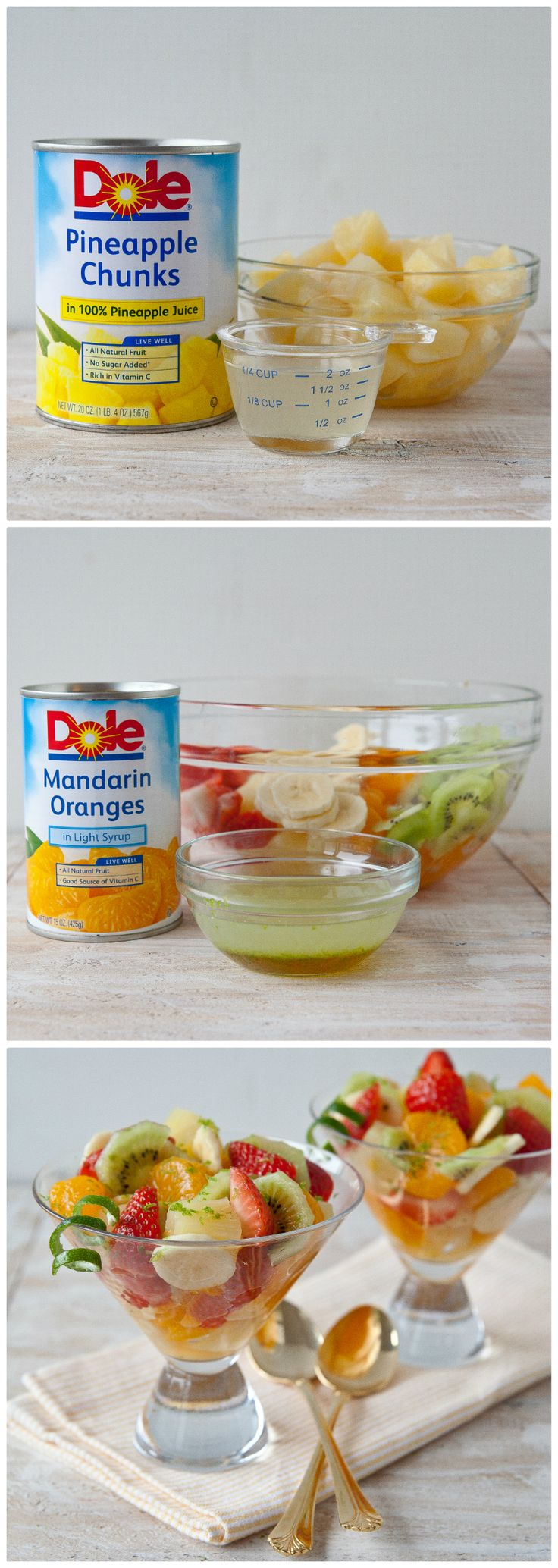 This classic fruit salad recipe is easy and delicious.  Toss together DOLE® Mandarin Oranges, Pineapple Chunks, fresh bananas, kiwi, and strawberries.  A little lime and honey gives this great flavor!