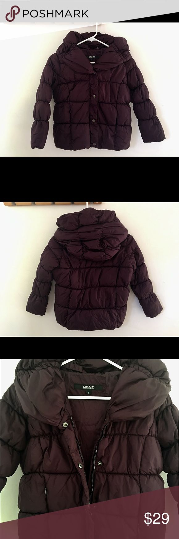 """DKNY Girls Down Hoddie Jacket size S Girl's DKNY Hooded Winter Warm Puffer Jacket Coat PURPLE  Size Small  This coat is very fashionable, cute and cozy.  It is pre-own but Overall in Very good Condition.  It's a Full Front Zip with Snap Button Closure and has 2 Front Zipper Pockets.  Shell is 100% Nylon  Lining is 100% Polyester.  From non smoking, no pets house.   Measurements:    Underarm to Underarm 18""""                            Length (Shoulder to Hem) 20""""…"""