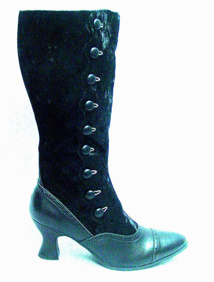 Victorian Button style granny boots black lace up with zipper sizes 6-10 #Ellie #grannyboot #stageorreenactment