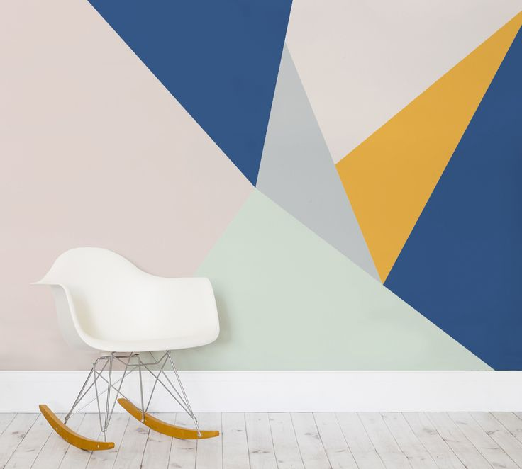 Tangram wall mural wall ideas for Geometric accent wall