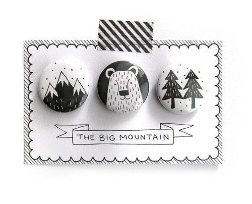 """Set of 3 pinback buttons """"The Big Mountain"""""""