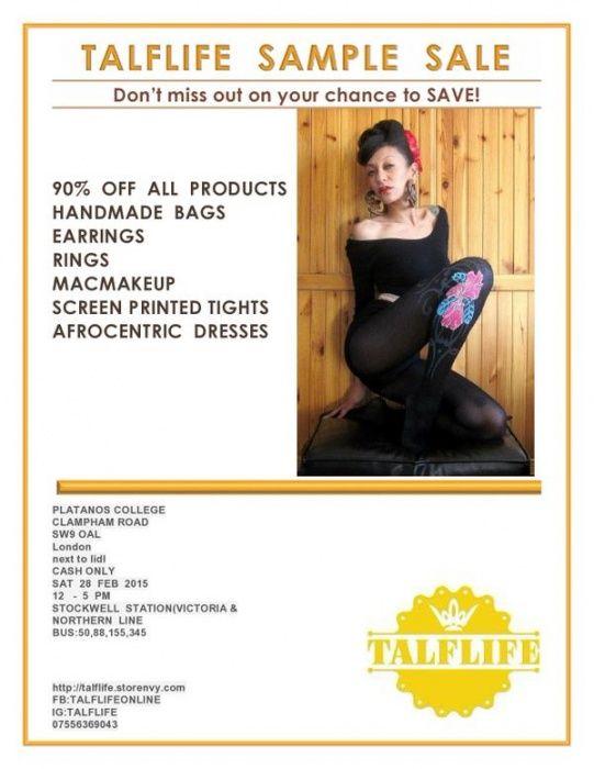 Talflife Sample Sale -- London -- 28/02